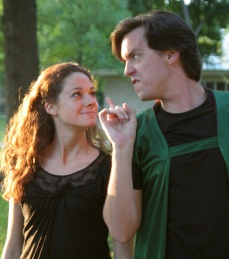 Jeannie Saracino as Puck and Jared Dennis as Oberon