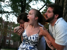 Ken Miller as Demetrius, Annie Hogan as Helena, and Adam Habben as Lysander