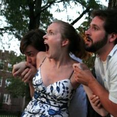 Ken Miller as Demetrius, Annie Hogan as Helena, and Adam Habben as Lysander