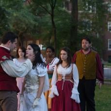 Adam Habben as Claudio, Meredith Ernst as Margaret, Vivian Knouse as Hero, Kanome Jonews as Ursula, Ashlee Edgemon as Beatrice, and J. Preddie Predmore as Antonio