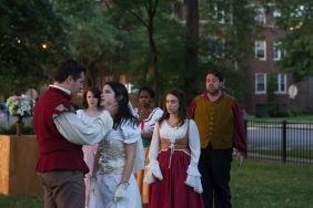 Adam Habben as Claudio, Meredith Ernst as Margaret, Vivian Knouse as Hero, Kanome Jonews as Ursula, Ashlee Edgemon as Beatrice, and J. Preddie Predmore as Antonio