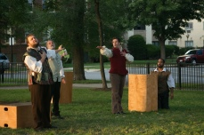 Chris Smith as Don Pedro, Scott Olson as Leonato, Adam Habben as Claudio, and Martel Manning as Benedick