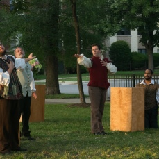 Chris Smith as Don Pedro, Scott Olson as Leonato, Adam Habben as Claudio, and Martel Manning as Benedick