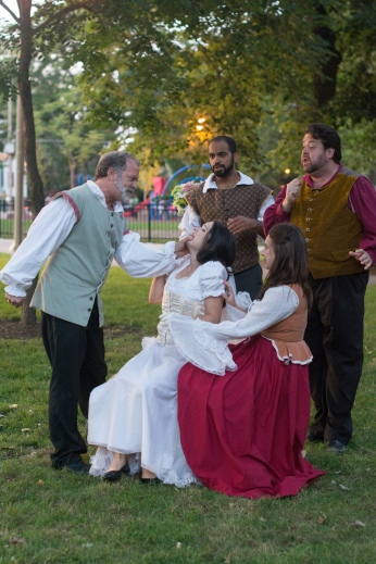 Scott Olson as Leonato, Vivian Knouse as Hero, Martel Manning as Benedick, Ashlee Edgemon as Beatrice, and J. Preddie Predmore as Antonio