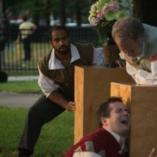 Martel Manning as Benedick, Adam Habben as Claudio, and Scott Olson as Leonato
