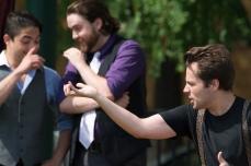 Jesse Montoya (Rosencrantz), Adam Rice (Guildenstern), Sam Cheeseman (Hamlet)